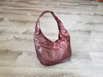 Mahogany brown leather hobo bag