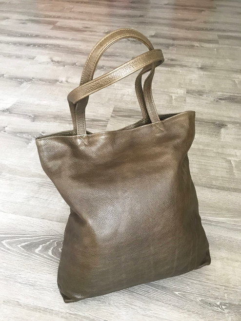 Olive Green Leather Tote Bag, Casual Purse for Women, Yosy