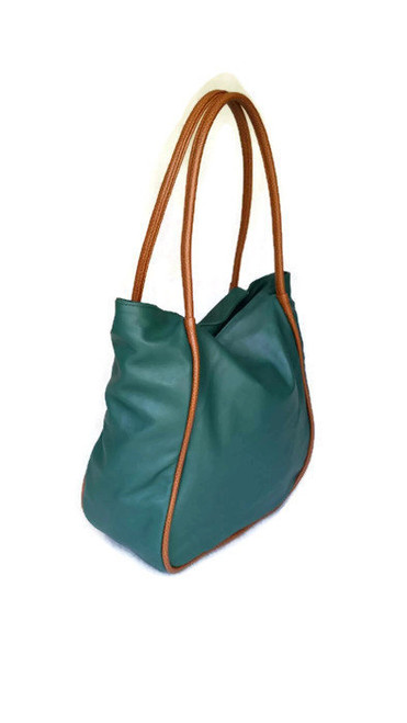 Green Leather Bag Purse, Everyday Handbag, Janeth