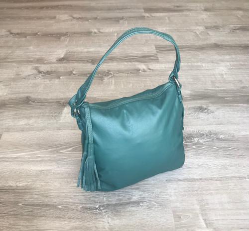 Green Leather Bag, Classic Hobo Purse, Casual Handbag, Anabella