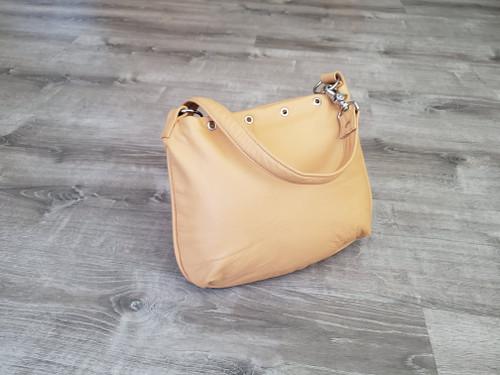 Handmade Cream Leather Bag, Women Purses, Flat Bags, Becky