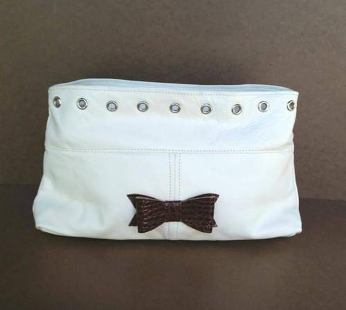 Women Leather Clutch Bag w/ Bow, Handbag, Ivanka