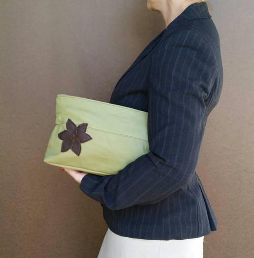 Green Leather Clutch, Handmade Women Handbags,  Ivanka