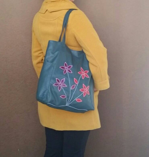 Green Leather Tote Bag, Everyday Shoulder Handbag, Yury