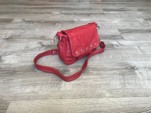Small Red Leather Bag, Crossbody Bag Style for Teens, Sury