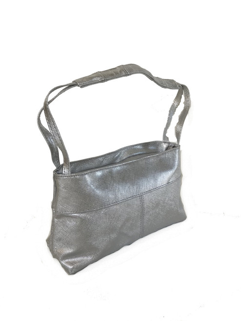 Silver Leather Shoulder Purse, Evening Stylish Handbag, Ivanna
