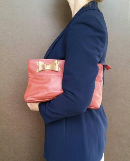 Coral Leather Clutch Handbag, Fashion Purse w/ Bow, Ivanka
