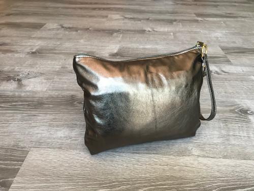 Metallic Leather Clutch Bag, Bronze Evening Purse, Angel