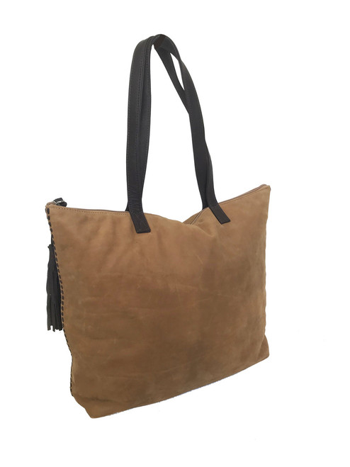 Camel Soft Leather Tote Bag w/ Tassel, Large Suede Women Purses, Jenny