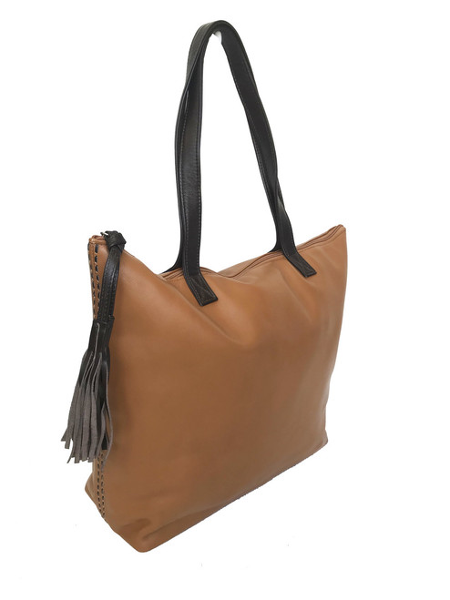 Large Women Leather Tote Purse w/ Tassel, Totes, Shopper Bag, Jenny