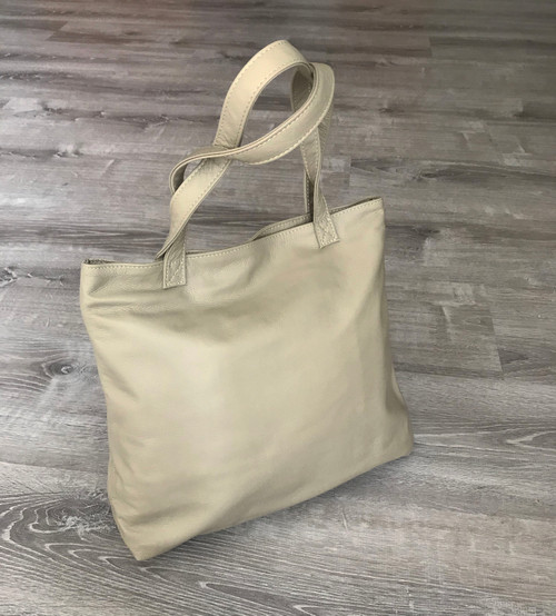 Neutral Sand Leather Tote Bag for Woman, Everyday Shoulder Purse, Yosy