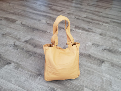 Beige Leather Bag, Everyday Classic Small Tote Bags, Annel