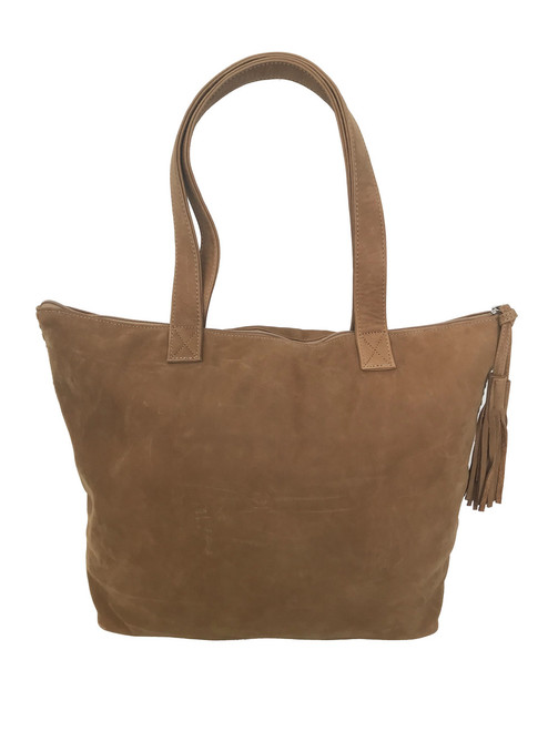 Camel Soft Leather Tote Bag, Suede Handbag w/Tassel, Jenny