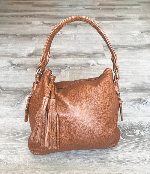 Orange Brown Leather Bag, Casual Purse, Shoulder Handbag w/ Tassel, Anabella