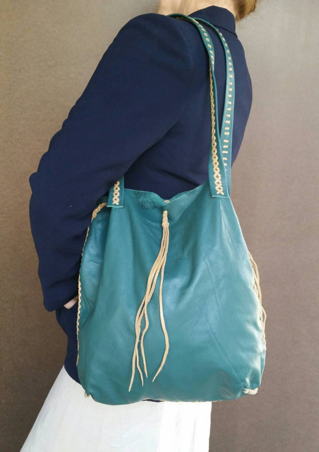 Boho Chic Bag, Hunter Green Leather Everyday Purse, Rustic Handbag, Carmen