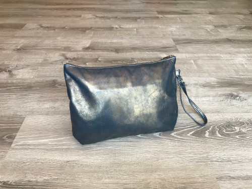 Metallic Blue Leather Clutch, Evening Bag,  Handmade Handbags, Angel