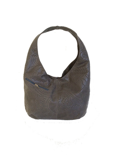 Gray Textured Leather Hobo Bag w/Pockets, Casual Handmade Bags, Alicia