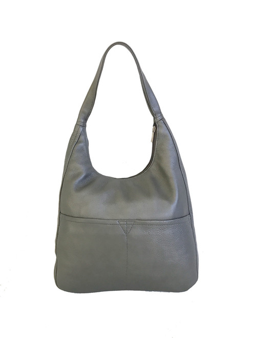 Women Leather Bags, Metallic Gray Leather Hobo Purse, Coco