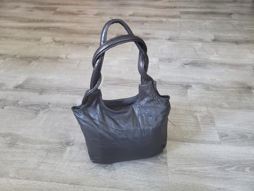 Brown Leather Bag, Vintage Style, Everyday Retro Handbag, Bony