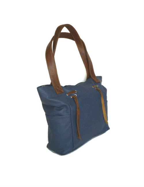 Blue Leather Bag, Everyday Shoulder Purse w/ Fringe, Rustic Design, Kenia