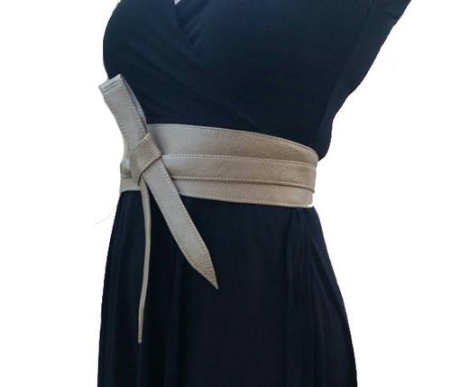 Neutral Leather Obi Belt, Wide Wrap Belts, Wraparounds, Urban Belts, Dean
