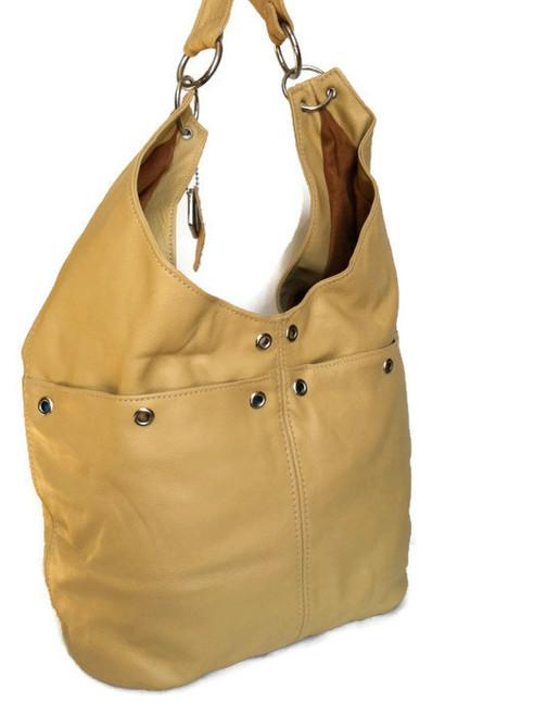 Cream beige leather hobo purse / women shoulder bag / casual bag / casual handbag kiara