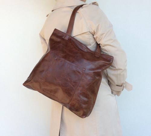 Wash Distressed Oil Leather Tote Bag w/ Pocket,  Original Fashion Shoulder Handbag, Yuritzy