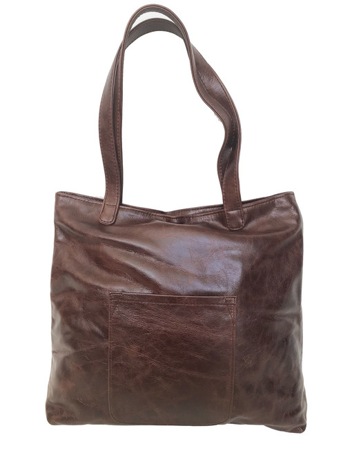 Wash Distressed Oil Leather Tote Bag w/ Pocket,  Original Fashion Shoulder Handbag, Yuritzy