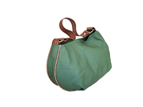 Green Leather Bag, Small Hobo Purse, Two Tones, Adriana