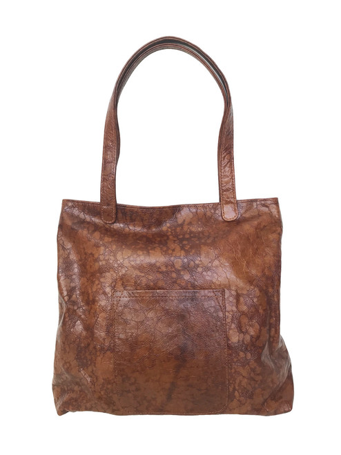 Women Leather Tote Bag w/ Pocket, Original Shoulder Handbag, Yuritzy