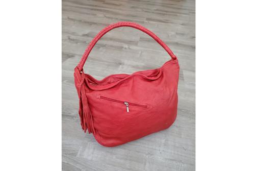 Rustic Red Leather Handbag w/ Tassel, Everyday Shoulder Bag, Sofia