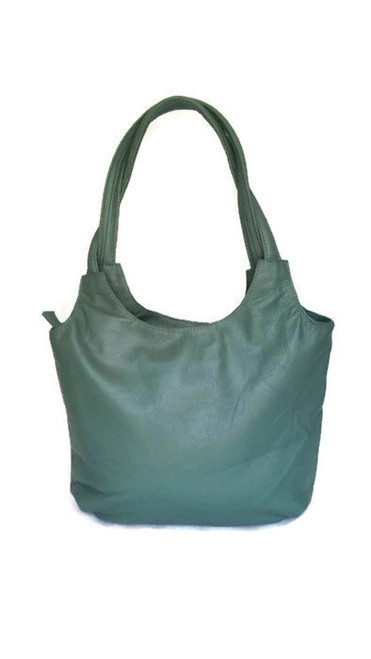 Forest green tote leather purse / everyday