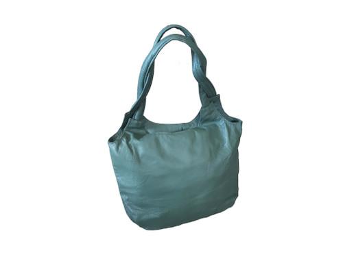 Green Leather Bag, Everyday Shoulder Handbag, Fashion Handbag  with Tassel, Bony