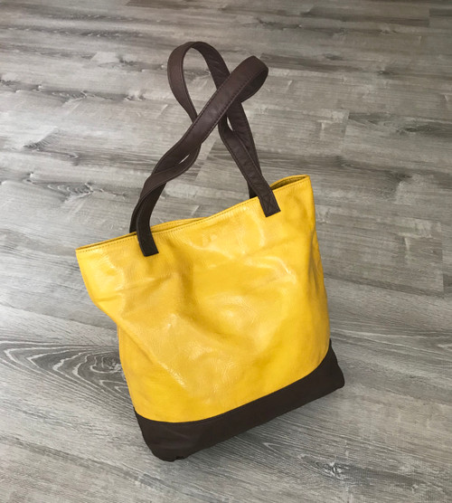 Women's Leather Tote Bag - Carryall Shoulder Purse - Two Tone Handmade Totes yosy