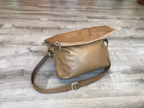 Brown Leather Cross body Purse, Fold over Leather Bag, Women Bags, Julia