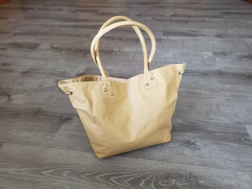 Handmade beige leather shoulder bag