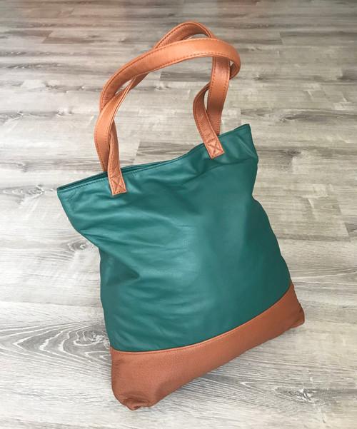 Women's Leather Tote Purse Bag - Unique Handmade Shoulder Bags - Green Two Tones Carryall Handbag - Totes yosy