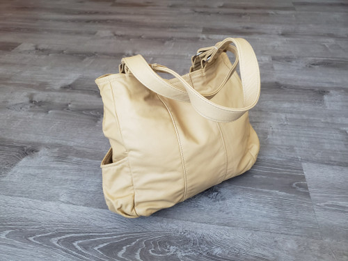 Cream Leather Bag, Casual Everyday Retro Style Shoulder Handbag, Katty