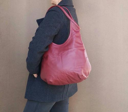 ... Dark red leather bag - boho chic purse - fashion slouchy shoulder  handbag - handmade purses ... 52c9c597dc9a9