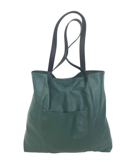 Green Leather Tote Bag with Black Handles  / Carryall Shoulder Purse / Unique Unlined Shopper Handbag Yuritzy