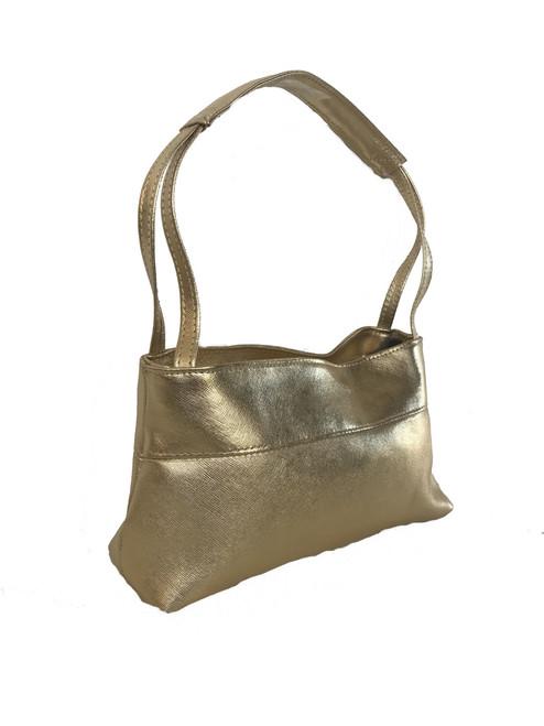 Gold Textured Leather Bag, Unique Shoulder Handbag, Ivanna