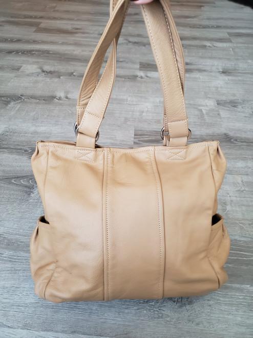 Camel Leather Bag, Women Shoulder Handbag with Pockets, Katty