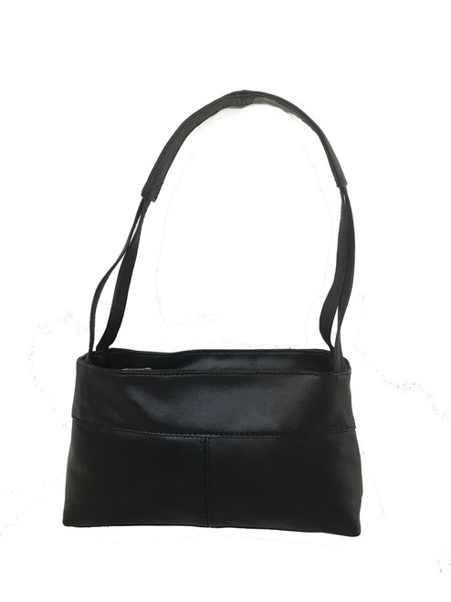 Black Leather Purse, Small Everyday Shoulder Bag, Ivanna