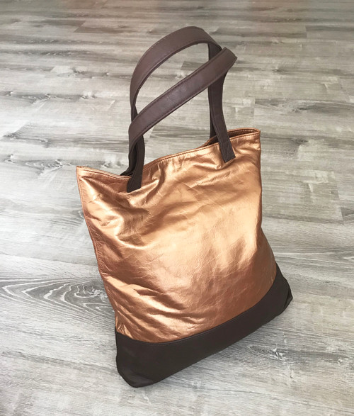 Two Tones Bronze and Dark Brown Leather Tote Bag - Metallic Shoulder Handbag - Large Handmade Totes yosy