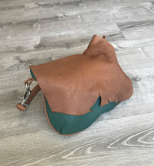 Rustic Flap Hunter Green Leather Hobo Bag - Colorful Purse - Shoulder Handbag - Gifts - becky