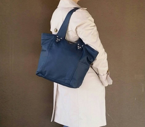 Blue Leather Purse, Women Bags, Casual Handbag, Kenia
