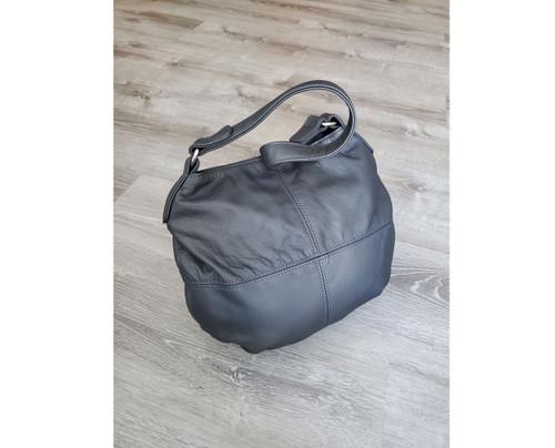 Metallic Gray Leather Bag, Women Purse, Slouchy Hobo Bag, Aida