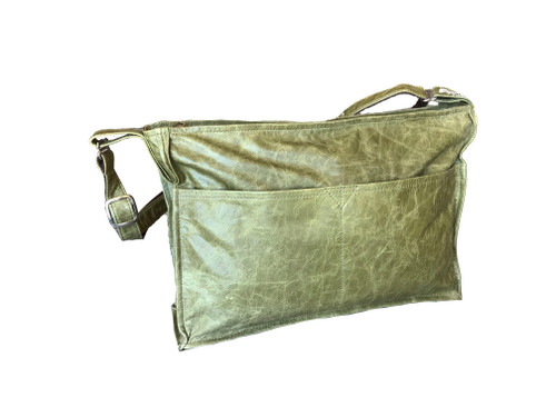 distressed green leather bag