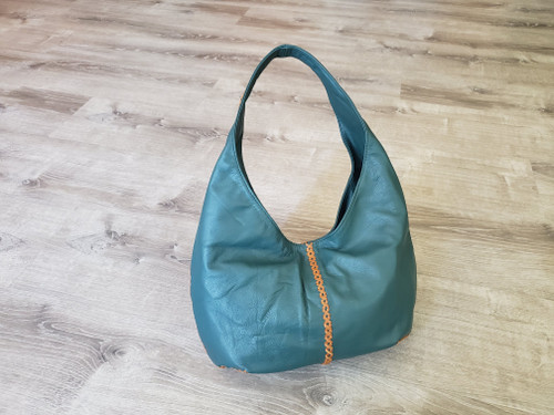 Green Leather Hobo Bag, Handmade Bags and Purses, Shoulder Slouchy Handbags, Women Bags, Alison