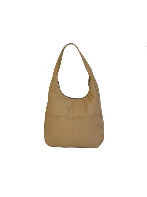 Hobo Bag, Cream Beige Leather Purse, Everyday Handbag, Coco